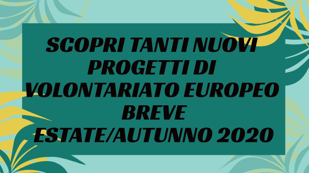 Volontariato Europeo estate-autunno 2020